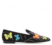 Black suede loafers with flowers motif TERRY