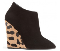 Black suede wedge with leopard inserts CHELSEA