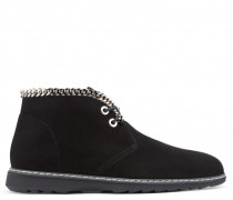 Black suede desert boot with chains JEREMY