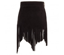 Black calf suede leather skirt with fringes JACQUELINE