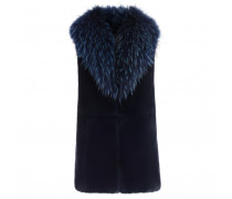 Blue shearling vest with fur LILIA