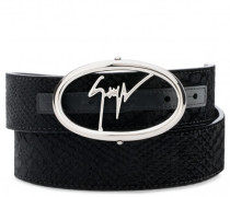Black python-embossed velvet belt ZED