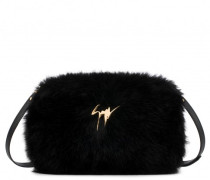 Black faux-fur clutch FRANCINE