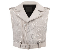 Pearl grey suede vest jacket with crystals NEW AMELIA