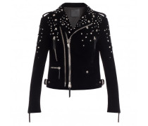 Black velvet motorcycle jacket with crystals AMELIA
