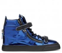 Blue mirrored patent high-top sneaker VEGAS