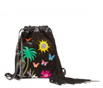 Multicolour nappa and leather embroideries backpack CALIFORNIA