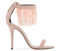 Suede sandal with feathers and beads BEAU