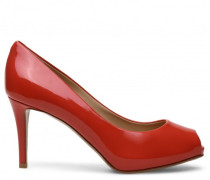 Red patent open-toe pump DEBBY 80