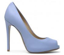 Light blue leather open-toe pump DEBBY