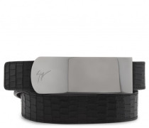Black crocodile-embossed belt LANE