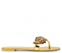 Mirrored gold leather 'Cruel' flat with crystals CRUEL