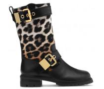 Black calfskin and leopard calf hair boots FADA