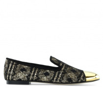 Black and gold fabric loafers with glitter finishing TERRY