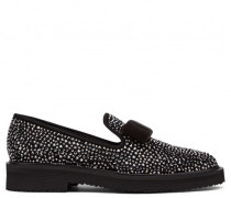 Black suede loafer with grey crystals HILARY