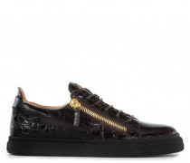 Crocodile-embossed leather low-top sneaker FRANKIE