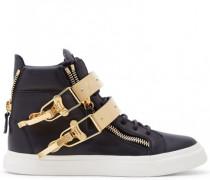 Black calf leather high-top sneakers SKYLAR