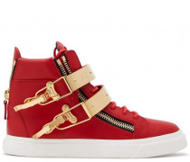 Red calf leather high-top sneakers SKYLAR