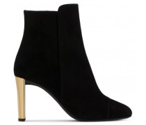 Black suede boot with gold chunky heel JESSICA