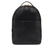 Black calfskin leather backpack with logo BOSTON