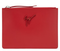 Red calfskin leather pouch MARCEL