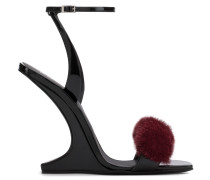 Black patent leather wedge with burgundy mink fur PICARD WINTER