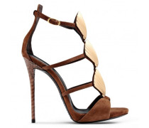 Brown suede sandals with accessory SHELLY