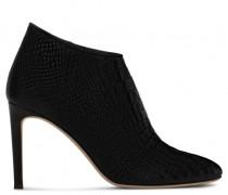 Black crocodile-embossed boot GINETTE