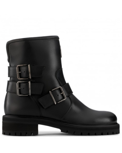Black leather boot with buckles MAUDE