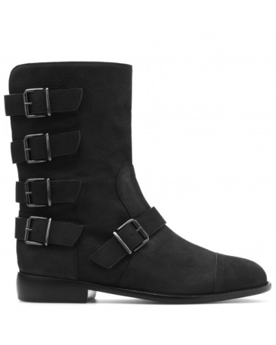Black textured calfskin boots with buckles CORALLINA