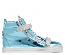 Mirrored blue calfskin sneaker with crystals TRIX