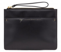 Black calfskin leather clutch TESSA