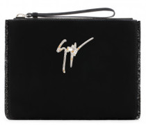 250x200 mm black suede clutch with signature logo MARGERY