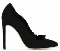 Black suede pump with fringed profile MARJORIE