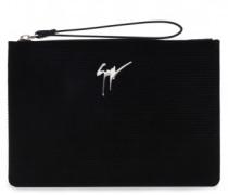 340x250 mm black printed velvet pouch MARCEL