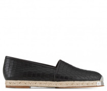 Black crocodile-embossed espadrilles SANTIAGO