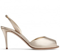 80 mm platinum gold sand leather sandals with ankle strap FLORENCE