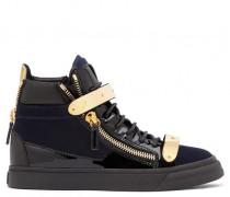 Dark blue velvet high-top sneaker COBY