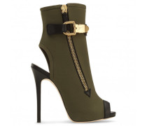 Army green canvas open-toe boot ROXIE