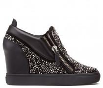 Black suede wedge sneaker with crystals SONYA