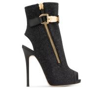 Black glitter fabric open-toe boot ROXIE