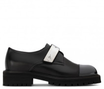 Black leather shoe with silver metal strap ABIGAIL