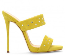 Yellow suede leather mule with crystals ANDREA CRYSTAL
