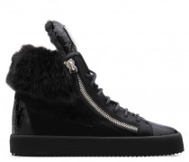 Black suede sneaker with faux-fur NICO