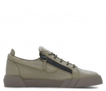 Grey crocodile-embossed leather low-top sneakers THE SHARK 5.0 LOW