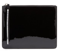 Black patent leather pouch with crystals DOTTY