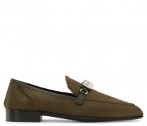 Green satin loafer with crystal accessory WILLIAM