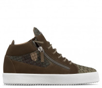 Camouflage stranded calfskin mid-top sneaker CLAY