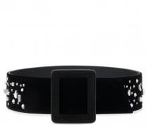Black velvet belt with crystals THE DAZZLING BEZZIE