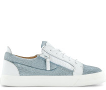 White leather and blue glitter fabric low-top sneaker NICKI